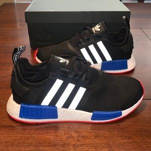 Adidas NMD R1 Black White Red & Blue Shoes